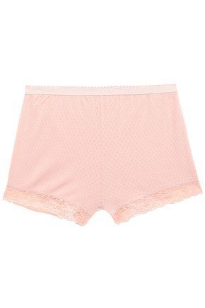 STELLA McCARTNEY Lace-trimmed pointelle-knit cotton-jersey pajama shorts