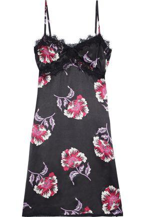 MORGAN LANE Twila lace-trimmed floral-print charmeuse chemise