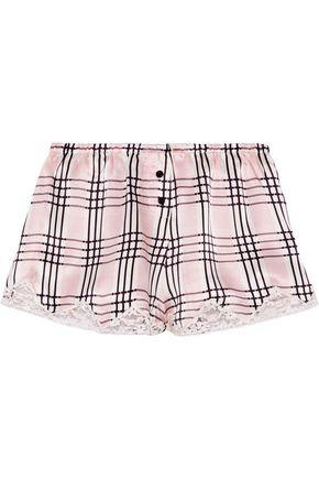 MORGAN LANE Josephine checked silk-satin pajama pants