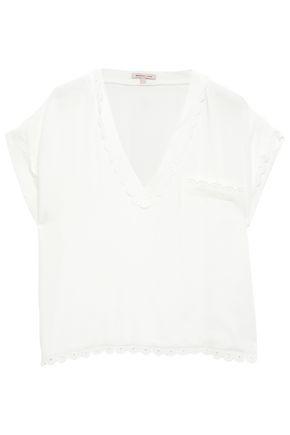 MORGAN LANE Broderie anglaise-trimmed jacquard pajama top