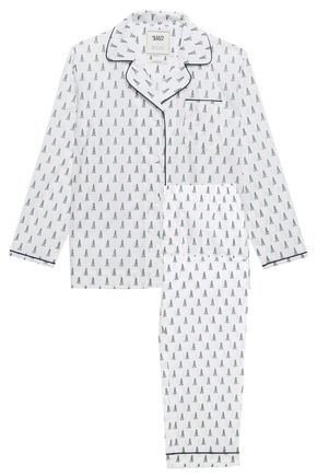 SLEEPY JONES Printed cotton-poplin pajama set