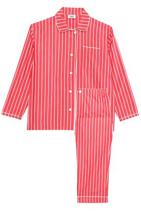 SLEEPY JONES Striped cotton-poplin pajama set
