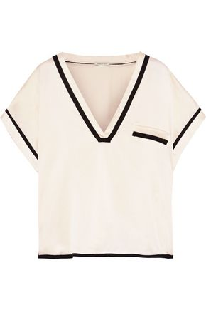MORGAN LANE Yeva grosgrain-trimmed silk-charmeuse pajama top