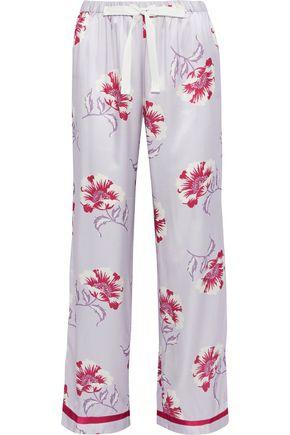 MORGAN LANE Chantal floral-print charmeuse pajama pants