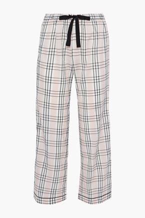 MORGAN LANE Chantal checked seersucker pajama pants