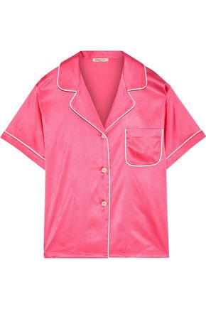 MORGAN LANE Katelyn silk-blend charmeuse pajama top