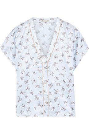 MORGAN LANE Joanie printed satin pajama top