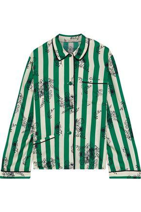 MORGAN LANE Ruthie striped satin-twill pajama shirt