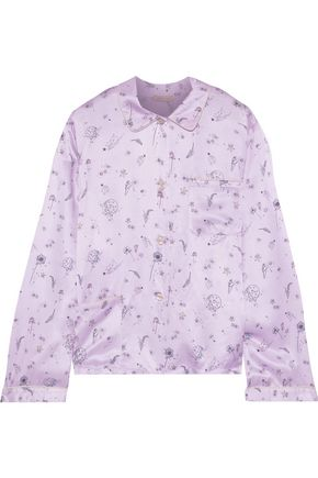 MORGAN LANE Ruthie printed charmeuse pajama shirt