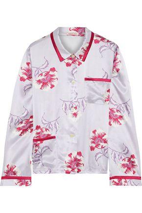 MORGAN LANE Ruthie floral-print charmeuse pajama shirt