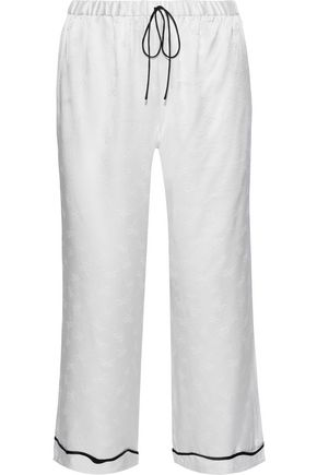 MORGAN LANE Petal cropped charmeuse-jacquard pajama pants