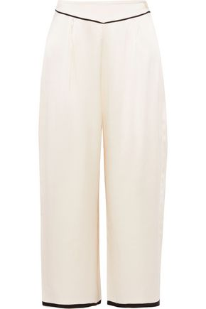 MORGAN LANE Ines cropped silk-charmeuse pajama pants