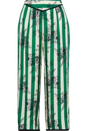 MORGAN LANE Ines cropped striped satin-twill pajama pants