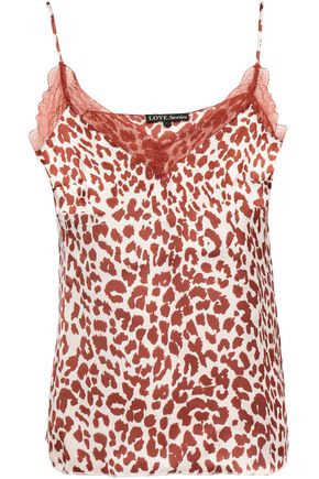 LOVE STORIES Camelia lace-trimmed leopard-print satin camisole