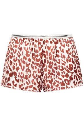 LOVE STORIES Edie leopard-print satin pajama shorts