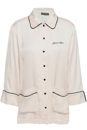 LOVE STORIES Joe embroidered charmeuse pajama shirt