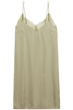 LOVE STORIES Lace-trimmed washed-twill chemise