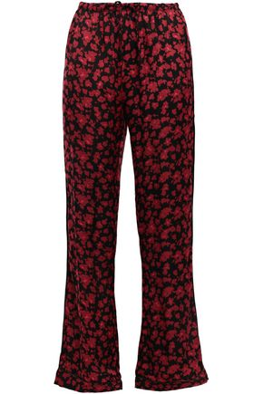 LOVE STORIES Billy floral-print charmeuse pajama pants