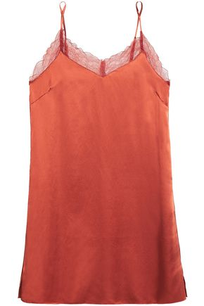 LOVE STORIES Camelia lace-trimmed washed-twill chemise