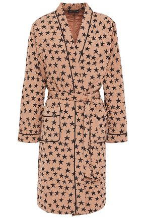 LOVE STORIES Susie quilted printed crepe de chine robe