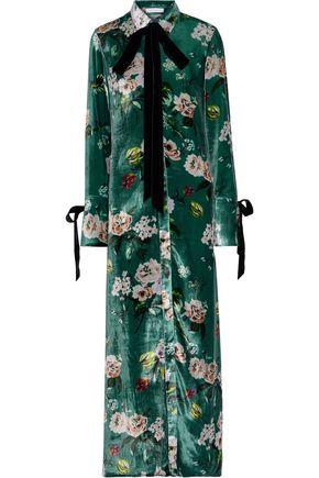 OLIVIA VON HALLE Hero pussy-bow floral-print velvet nightdress