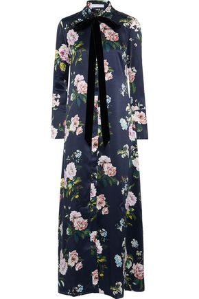 OLIVIA VON HALLE Hero pussy-bow floral-print silk-satin nightdress