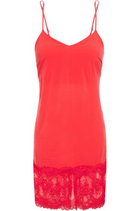 WACOAL Lace-trimmed crystal-embellished stretch-jersey chemise