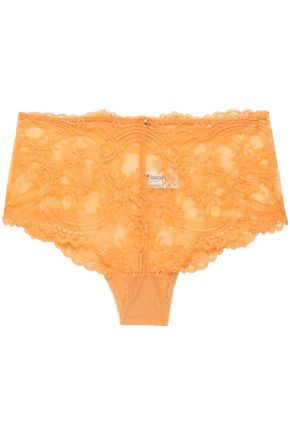 WACOAL Chrystalle point d'esprit-paneled crystal-embellished lace high-rise briefs