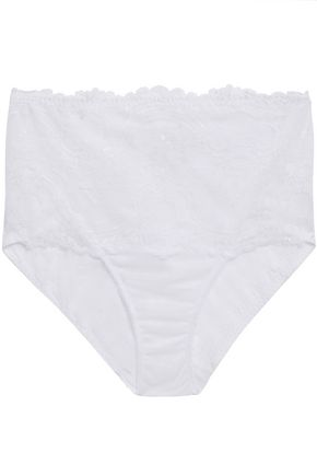 WACOAL Chrystalle point d'esprit-paneled stretch-lace high-rise briefs