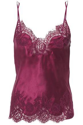 I.D. SARRIERI Chantilly lace-trimmed silk-blend satin camisole