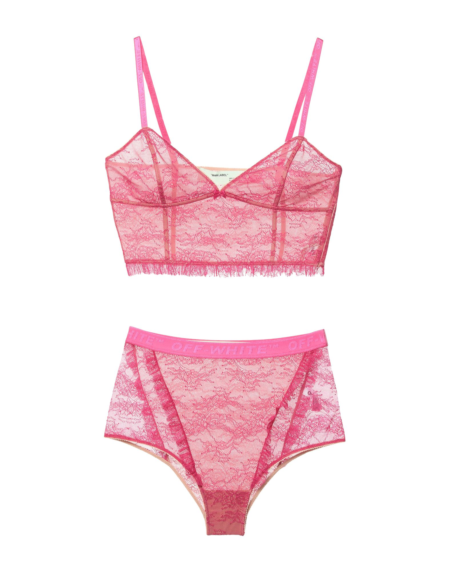 OFF-WHITE™ Underwear sets. lace, bow-detailed, solid color, sleeveless, deep neckline, side closure, zip, inside with stays, stretch. 80% Polyamide, 20% Elastane
