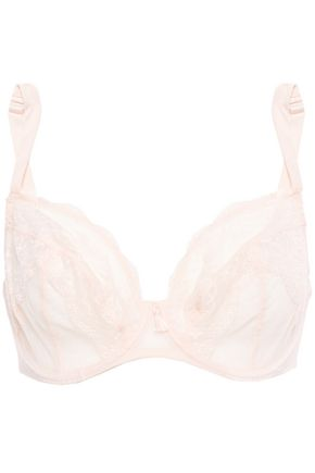 MAISON LEJABY Point d'esprit-trimmed lace underwired bra