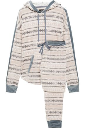 DKNY Printed chenille hooded pajama set