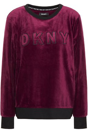 DKNY Urban Mindset embroidered striped velour pajama top
