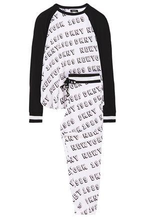 DKNY Logo-print stretch-jersey pajama set