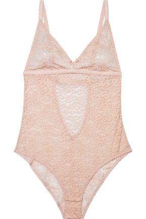 STELLA McCARTNEY Ruby Roaring Chantilly lace-paneled stretch-jacquard bodysuit