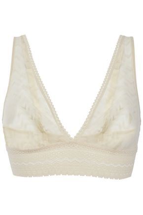 ELSE Boomerang lace-trimmed stretch-tulle soft-cup triangle bra