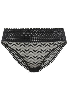 ELSE Boomerang lace-trimmed stretch-tulle mid-rise briefs
