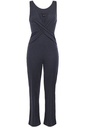ELSE Ella twisted mélange wool and cotton-blend jersey jumpsuit