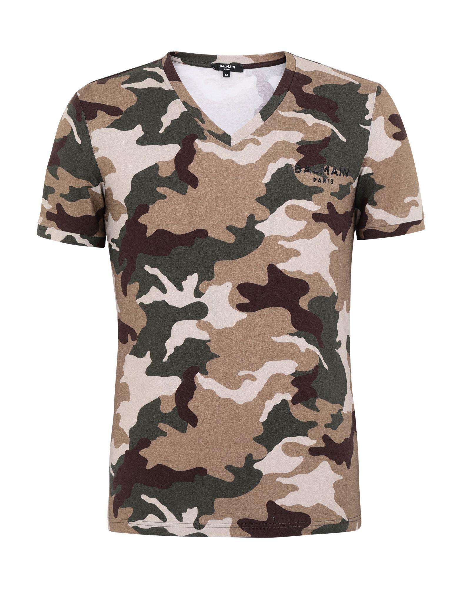 BALMAIN Undershirts. jersey, logo, camouflage, short sleeves, v-neck, stretch. 90% Cotton, 10% Elastane