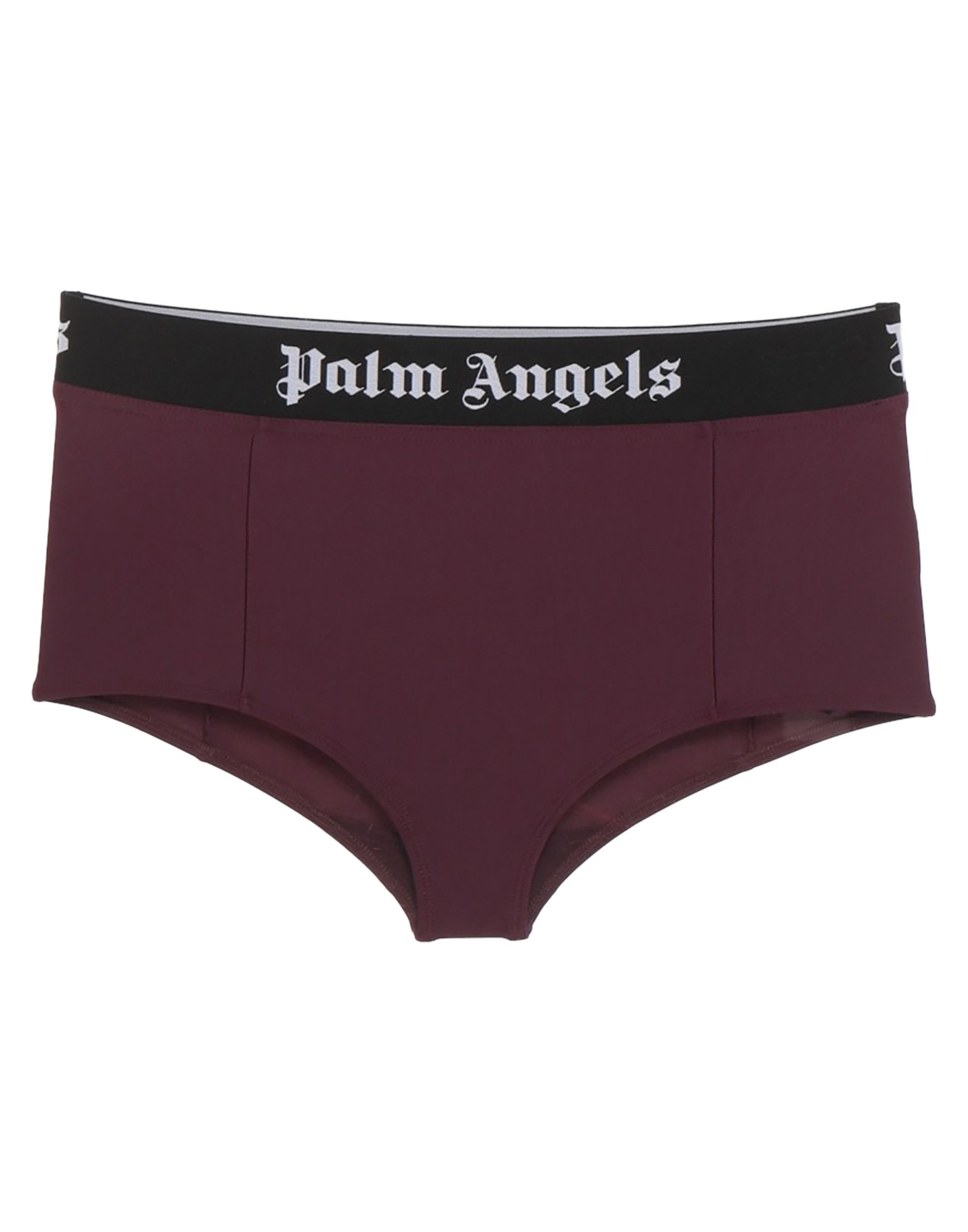 PALM ANGELS Boyshorts. synthetic jersey, logo, solid color, stretch. 80% Polyamide, 20% Elastane