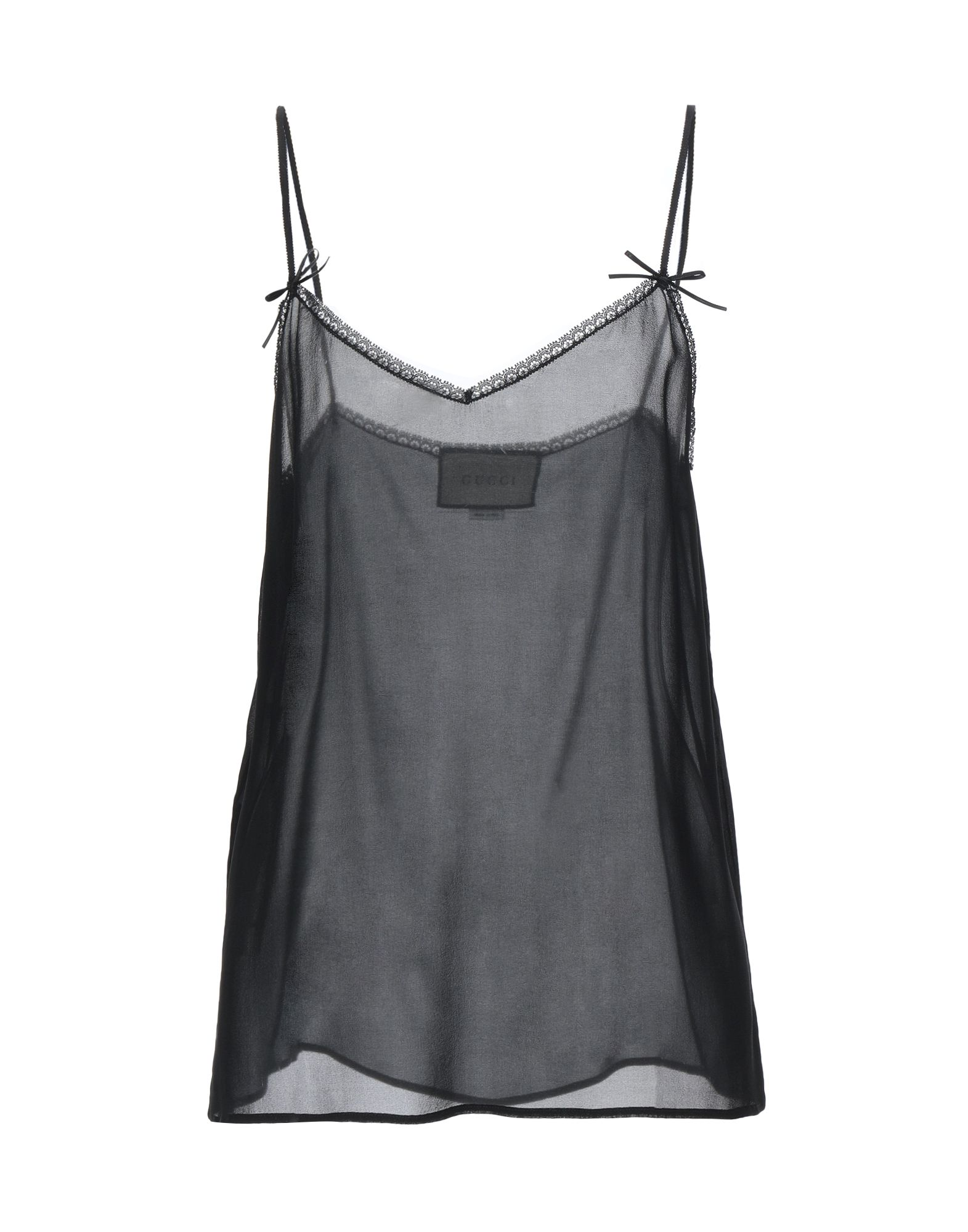 GUCCI Sleeveless undershirts. crepe, bow-detailed, deep neckline, basic solid color, sleeveless, no pockets, stretch. 90% Silk, 10% Elastane, Cotton, Viscose, Polyamide
