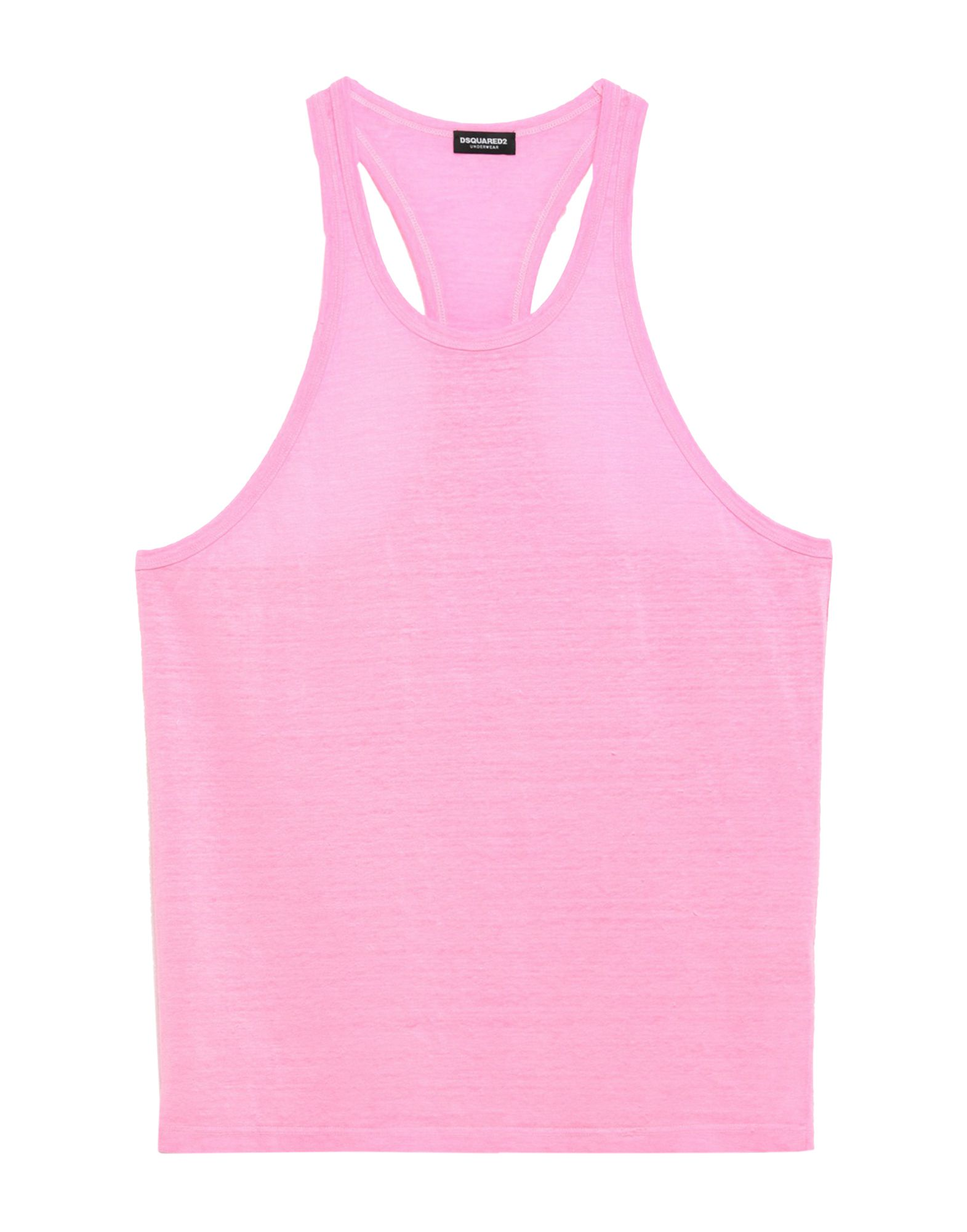 DSQUARED2 Sleeveless undershirts. jersey, print, logo, round collar, basic solid color, sleeveless, no pockets, stretch. 96% Linen, 4% Elastane