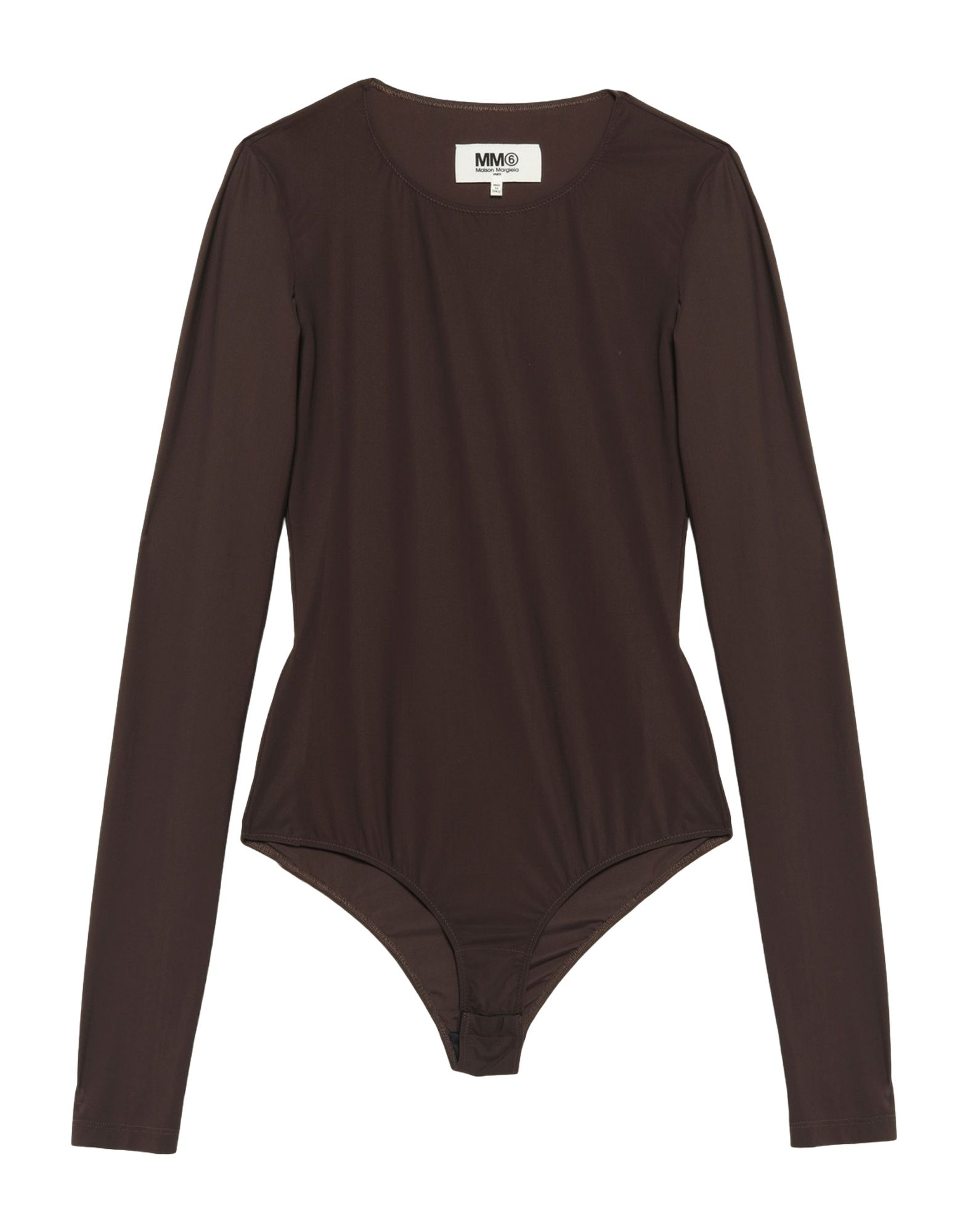 MM6 MAISON MARGIELA Bodysuits. synthetic jersey, no appliqués, round collar, solid color, long sleeves, no pockets, crotch of body, stretch. 73% Polyamide, 27% Elastane