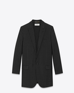 SAINT LAURENT Blazer Jacket D Single Breasted Jacket in Black Pinstriped Mohair and Virgin Wool f