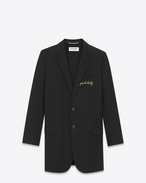 "SAINT LAURENT Blazer Jacket D Single Breasted ""YEAH BABY"" Jacket in Black Virgin Wool f"