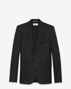 SAINT LAURENT Blazer Jacket U Classic Single-Breasted 2-Button Jacket in Black Camouflage Wool Jacquard f
