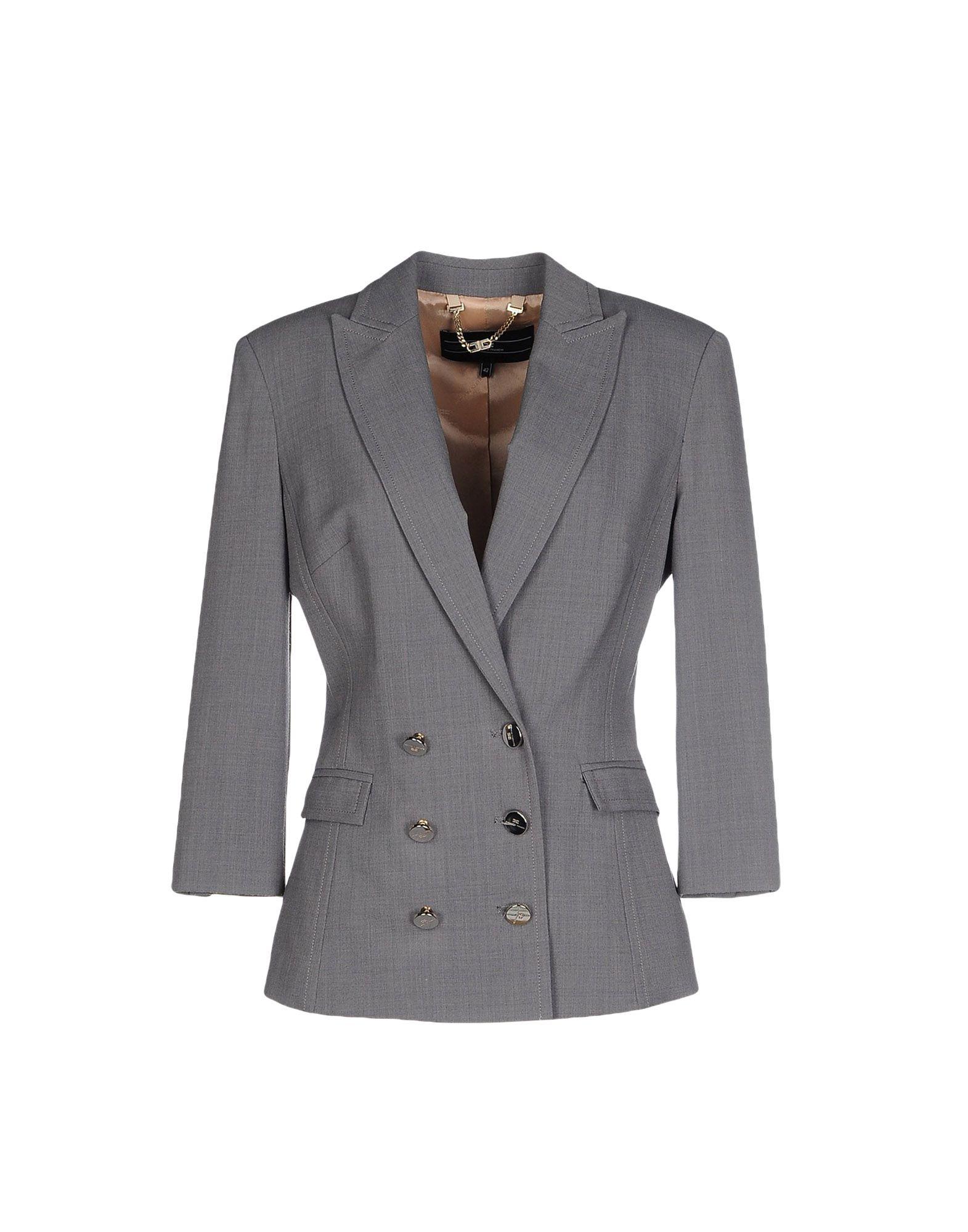 《期間限定セール中》ELISABETTA FRANCHI 24 ORE レディース テーラードジャケット グレー 44 ポリエステル 53% / バージンウール 43% / ポリウレタン 4%