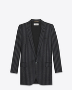 SAINT LAURENT Blazer Jacket D oversized single breasted jacket in anthracite and white pinstriped wool flannel f