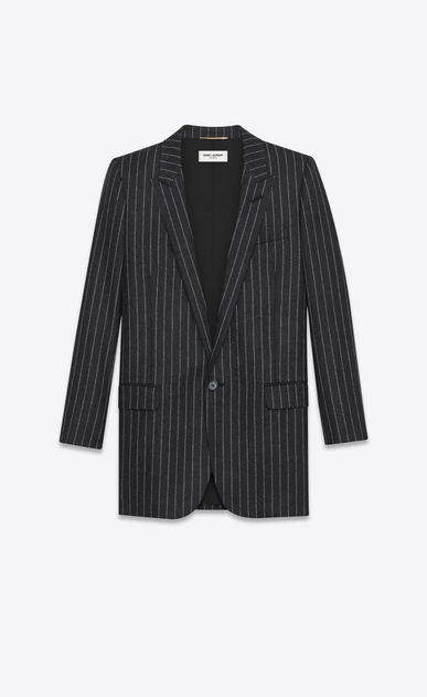 SAINT LAURENT Blazer Jacket D oversized single breasted jacket in anthracite and white pinstriped wool flannel a_V4